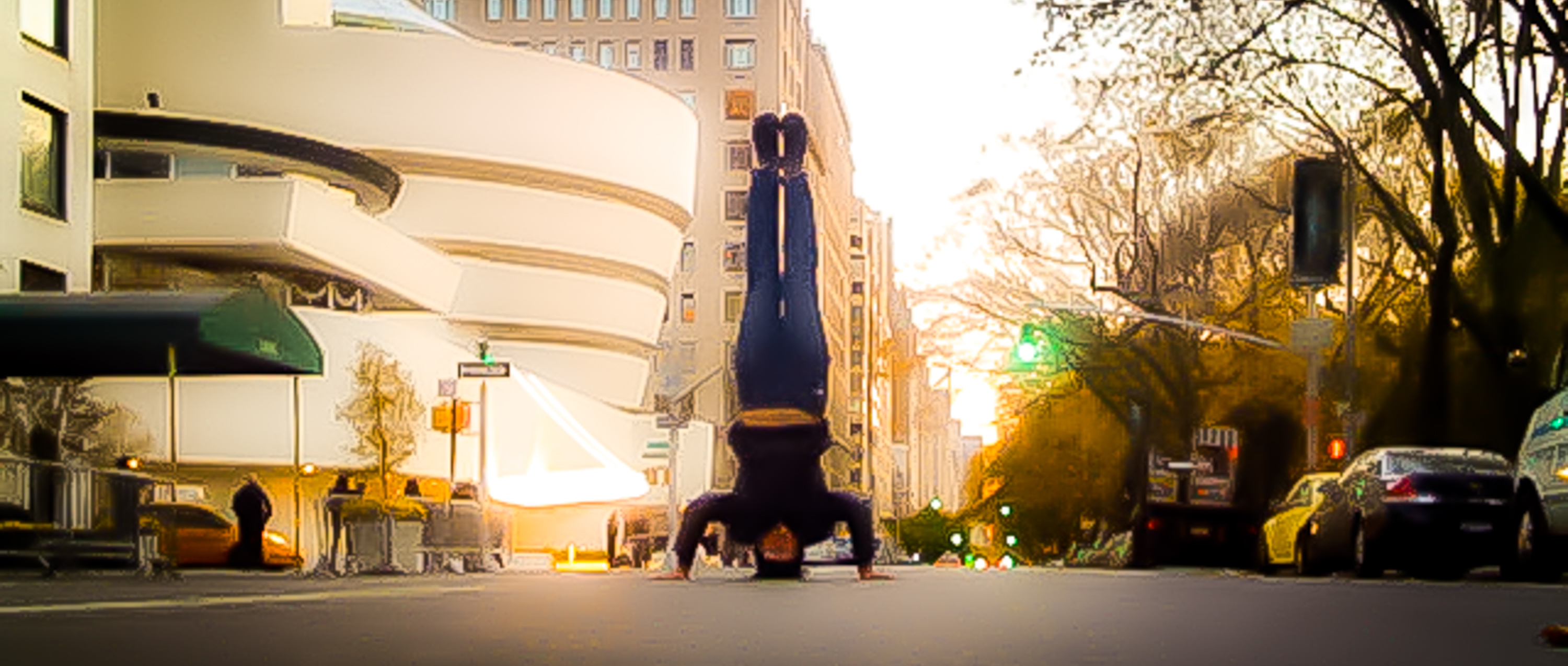 squeek steele does a headstand on 5th Ave, NYC